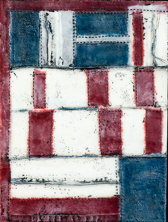 Quilt Series-Bee Work- Americana #3 , 9x12