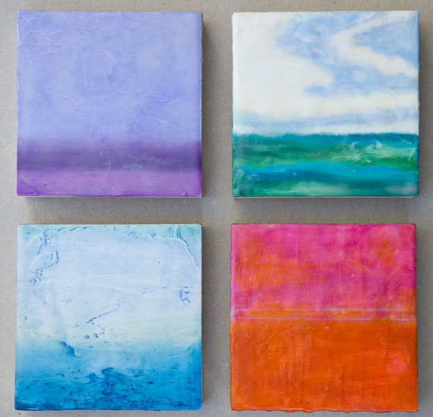 Color Squared<br /> 10x10<br /> 4 Panel Encaustic