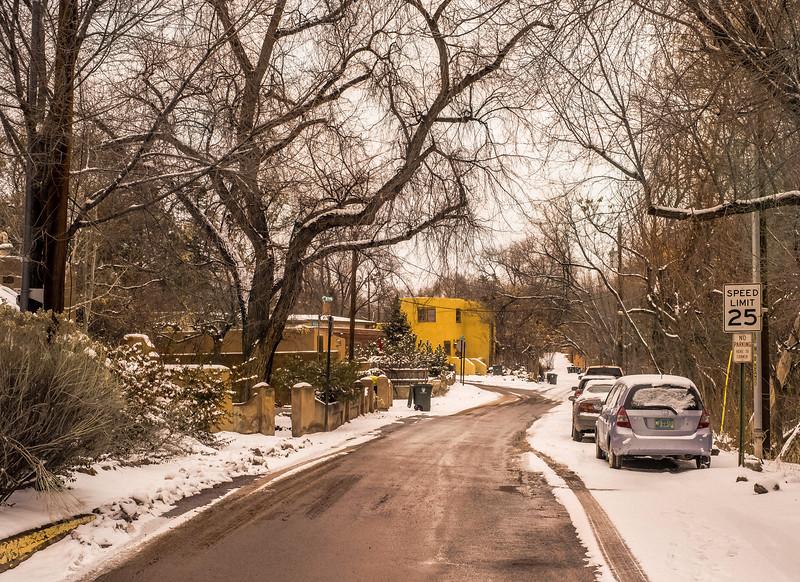 Yellow House, During a Snow Storm, Armijo Street, Santa Fe