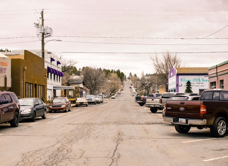 Cars and Trucks on a Side Street, Before a Storm, Williams, AZ