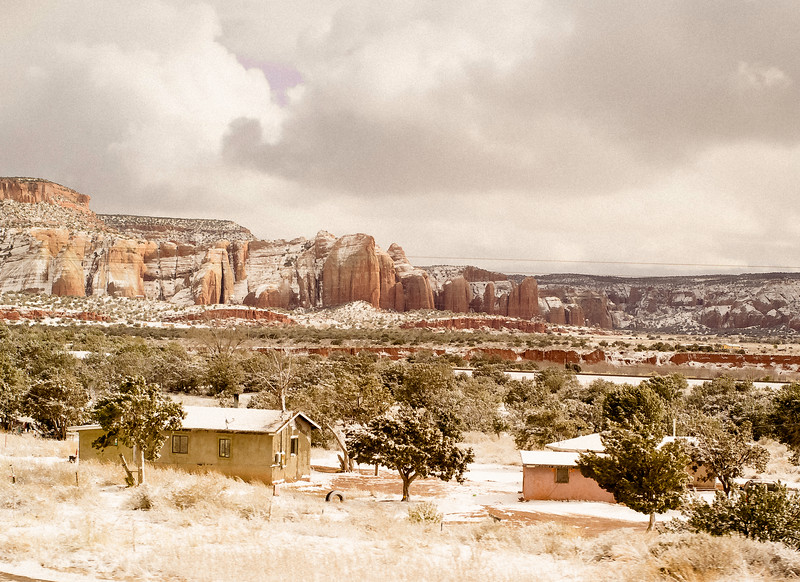 Houses and Mesas, During a Snow Storm, near Holbrook, AZ