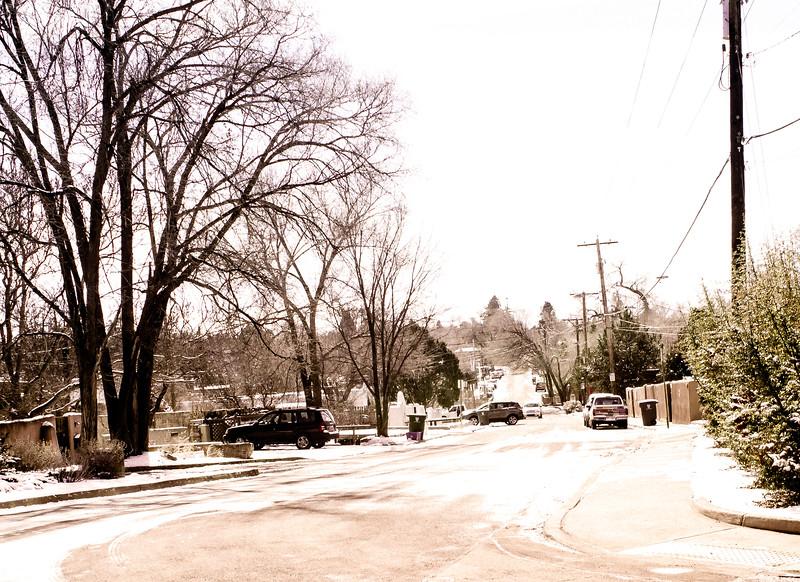 Cars in a Snow Storm, Delgado Street, Santa Fe, NM