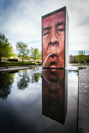 One of the 2 Crown Fountain in the Millenium Park, Chicago.
