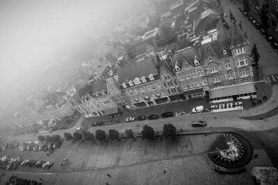 Foggy Ypres (Ieper), view from the Cloth Hall (Lakenhalle) tower.