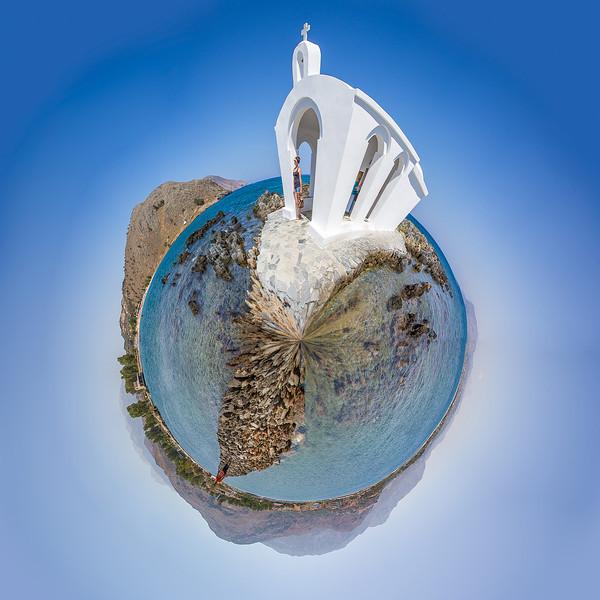 Little planet Agios Antonios church, Georgioupoli, Crete