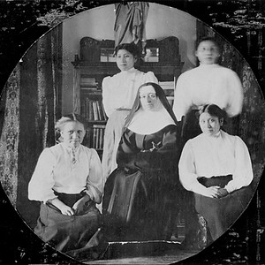 Mother Frances with Four Cheyenne Girls at a Missionary School