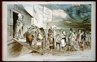 Political Cartoon of Uncle Sam Welcoming European Immigrants