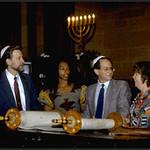 Rabbi Rolando Matalon Shows Torah Scroll to St. Paul & St. Andrew Congregation (New York, NY)
