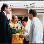 Venerable Thich Chon Thanh, Reverend Holland, and Mayor Brockwater at Vietnamese Lien Hoa Temple Opening (Garden Grove, CA)