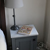 Wider view of the bedside table.   It is a copy of one they sell at Restoration Hardware for $350.  I paid less than half.
