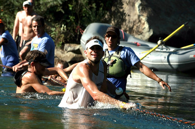 2009 Western States Endurance Run winner Hal Koerner crosses the river at Rucky Chucky.