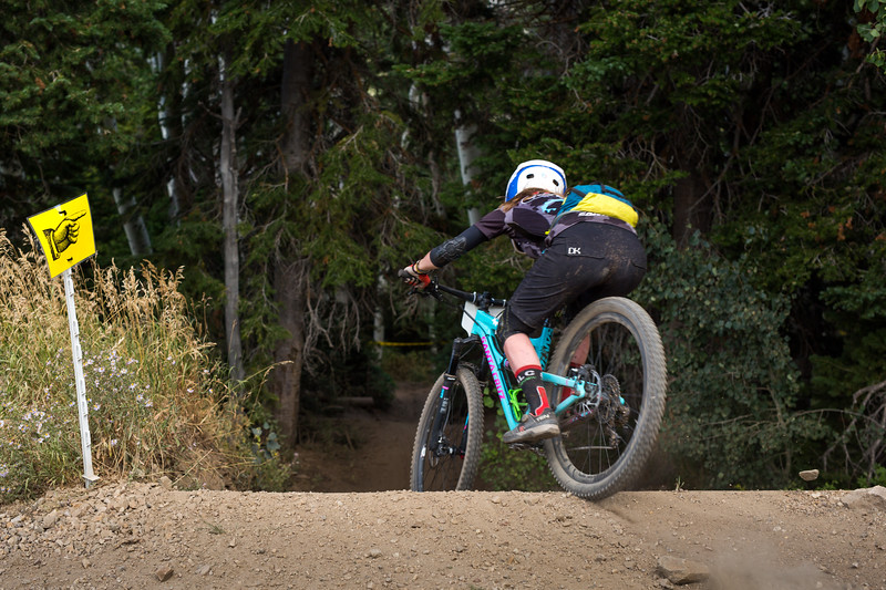 Rider drops into lower Fireswamp on Stage Three of the SCOTT Enduro Cup at Deer Valley Resort in Park City, UT on Aug. 28, 2016