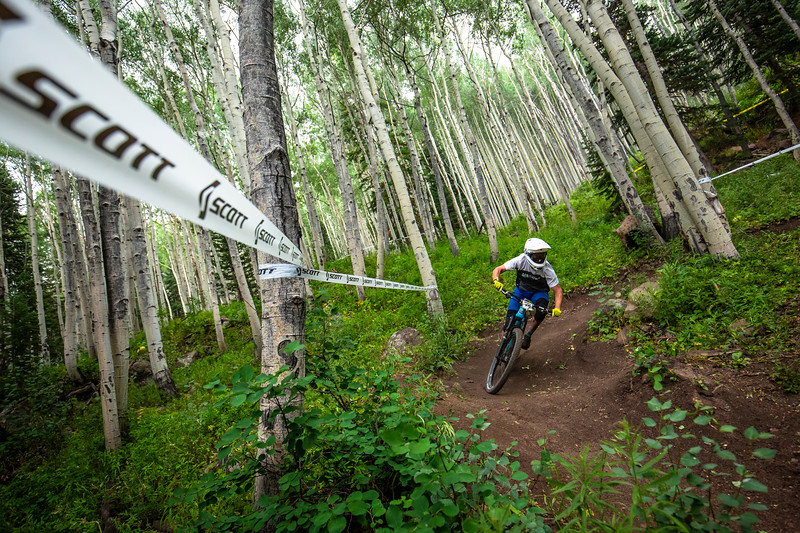 Michael Sampson races stage 2 in the Pro/Open Division at Round 3 of the 2018 Scott Enduro Cup presented by Vittoria at Powderhorn Resort, CO on July 28th 2018. (Photographer: Noah Wetzel, Courtesy, Enduro Cup)