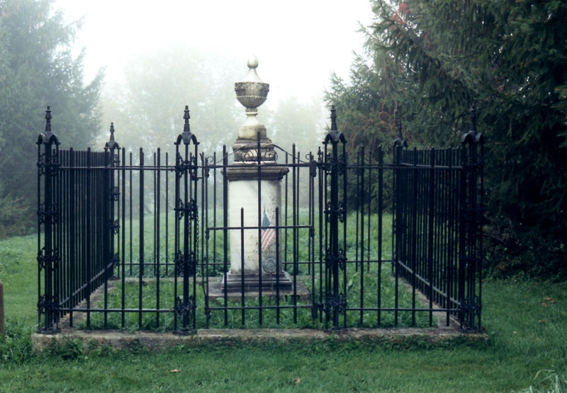 View of the monument in it's wrought iron enclosure