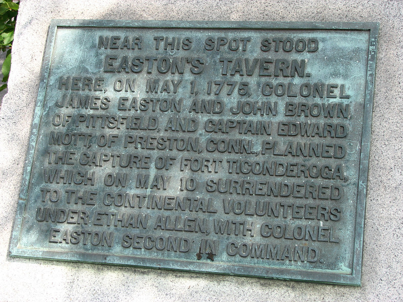 Marker on the site of Easton's Tavern in downtown Pittsfield