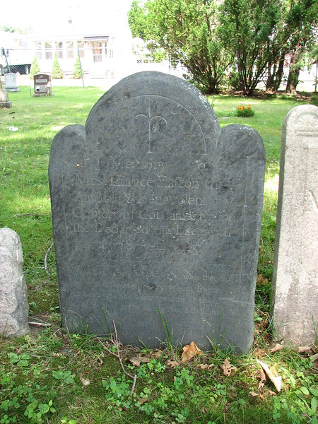 A closer view. This stone is in the third row, and, if memory serves, it is some distance to the left of Col. Easton's. See next photo for the inscription.