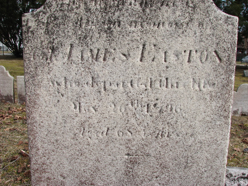 """Inscription on the gravestone: """"..memory of Col. James Easton who departed this life May 26, 1796 aged 68 years"""""""