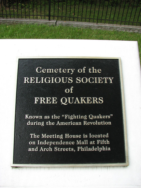 Matlack and others interred here were originally buried in the Free Quaker Burial Ground in downtown Philadelphia, and moved here in 1905.