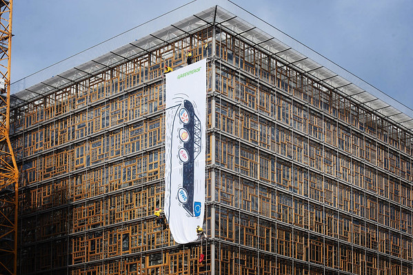 Greenpeace Takes Action on EU Building