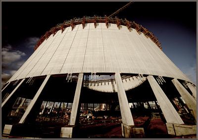 Erweiterungsbaustelle Steinkohlekraftwerk Walsum. Das wird mal der zweithöchste Kühlturm der Welt (182m) - 2007