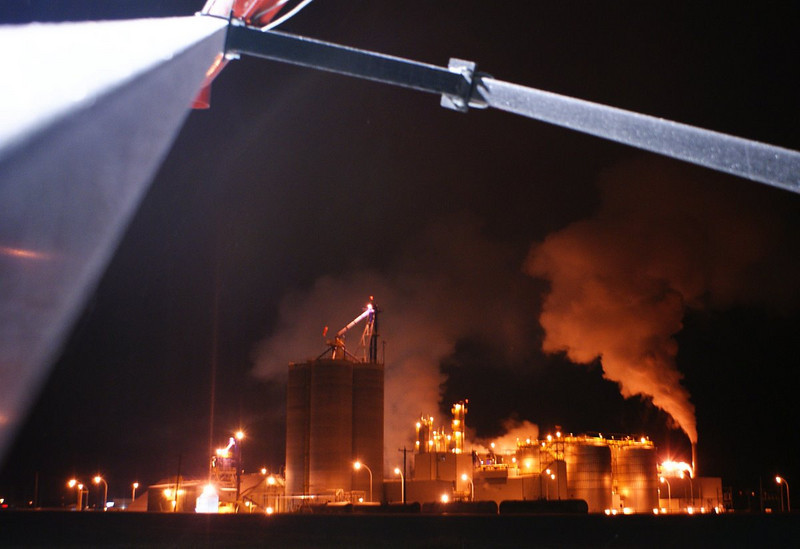 Husky Oil refinery at Minnedosa, December night