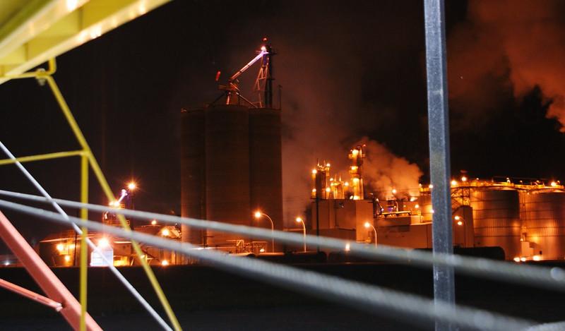 Husky Oil refinery at Minnedosa, December night