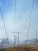 Smoke crossing power transmission lines
