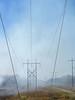 Smoke crossing power transmission lines