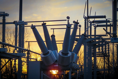 Evergy substation on Lee's Summit road at sunset, Feb. 2021.