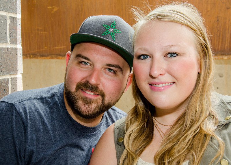 Engagement photo of couple in fulton brewery