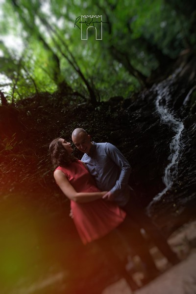 waterfall engagement couple