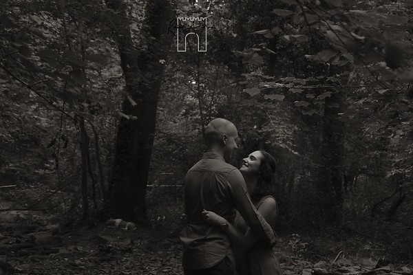 woodland engagement platinum balck and white image
