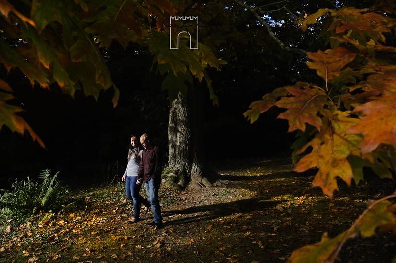 sunlight in their hearts:warm hearted autumnal light shines down on engaged couple bex and chris
