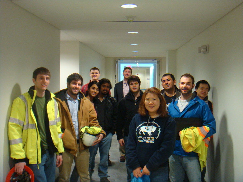 4/18/14<br /> UB students anxiously awaited their tour of the New New York Bridge in Tarrytown, NY. <br /> Logan Bessel<br /> Dan Barron<br /> Sathvika Meenakshisundaram<br /> Gary Worden<br /> Sharath Chandra<br /> Dr. Anthony Tessari<br /> Gustavo De Andrade<br /> Suk-Hee Hyun<br /> Nashwan al Shuwaili<br /> Josh Rodems<br /> Chao Huang