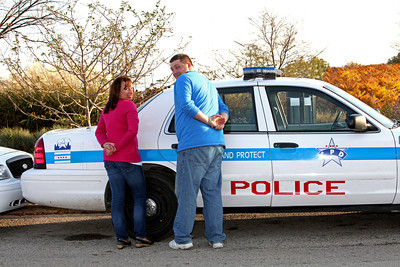 Jen and Greg with PD car