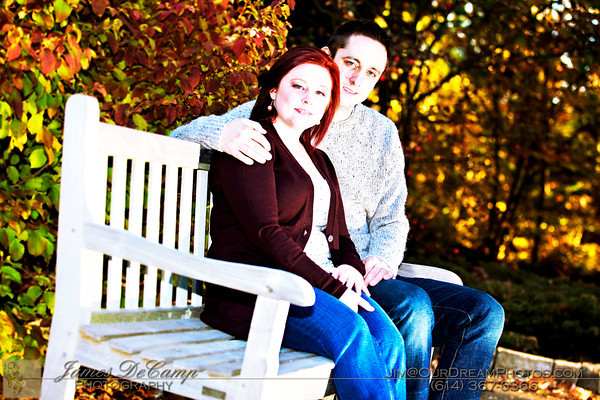 Engagement photo session with John McCullough and Lindsay Wagner Friday afternoon October 22, 2010 at Innis Woods Metro Park.  (© James D. DeCamp | http://www.OurDreamPhotos.com | 614-367-6366)