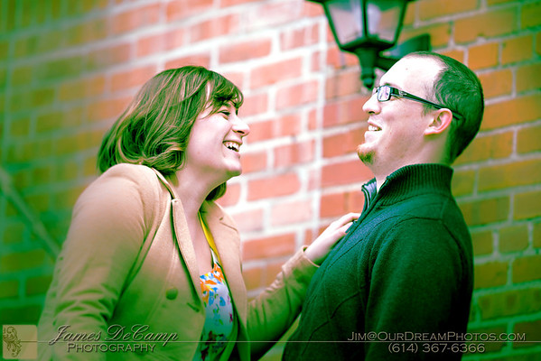 Engagement session with Kelly Shoup and Erik McCleese in olde downtown Westerville Saturday March 4, 2012. (© James D. DeCamp | http://OurDreamPhotos.com | 614-367-6366)