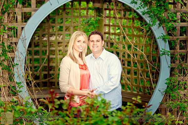 Engagement photo session with Suzanne Hibbard and Justin Nuzum at the Innis Woods Metro Gardens in Westerville Ohio Sunday evening April 30, 2012. (© James D. DeCamp | http://OurDreamPhotos.com | 614-367-6366)