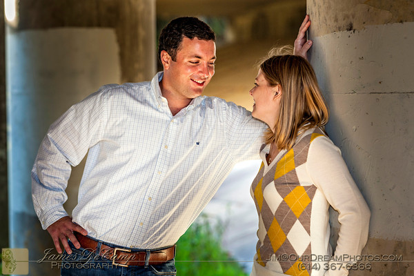 Engagement session with Courtney Karn and Andrew Hanna at Antrim Park Sunday evening September 30, 2012.  (© James D. DeCamp   http://www.OurDreamPhotos.com   614-367-6366)