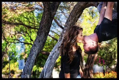 The Spiderman Kiss at an engagement photo session in Scottsdale.