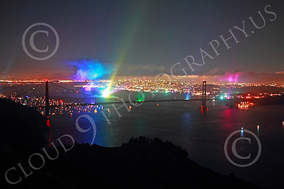ENGF-GGB 00349 Colorful searchlights create a festive Golden Gate Bridge landmark anniversary celebration picture by Peter J Mancus