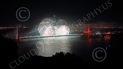 ENGF-GGB 00350 Eloquent white fireworks burst over the Golden Gate Bridge to celebrate a landmark anniversary picture by Peter J Mancus