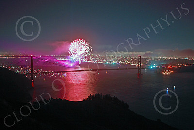 ENGF-GGB 00357 Colorful fireworks burst above the Golden Gate Bridge to celebrate a landmark anniversary picture by Peter J Mancus