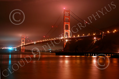 ENGF-GGB 00173 A wide-angle northeast view of the Golden Gate Bridge at night by Peter J Mancus
