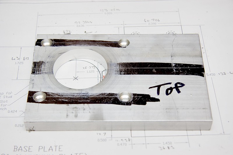 """The base with just the main pulley and fixing holes bored. The base is made out of 4"""" x 1/2"""" ali plate."""