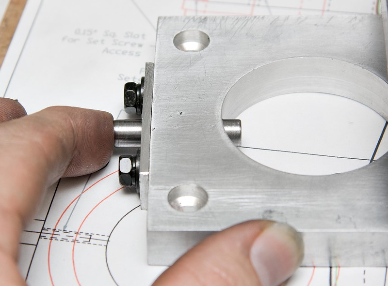 Showing the completed spindle locking pin mounted on the base