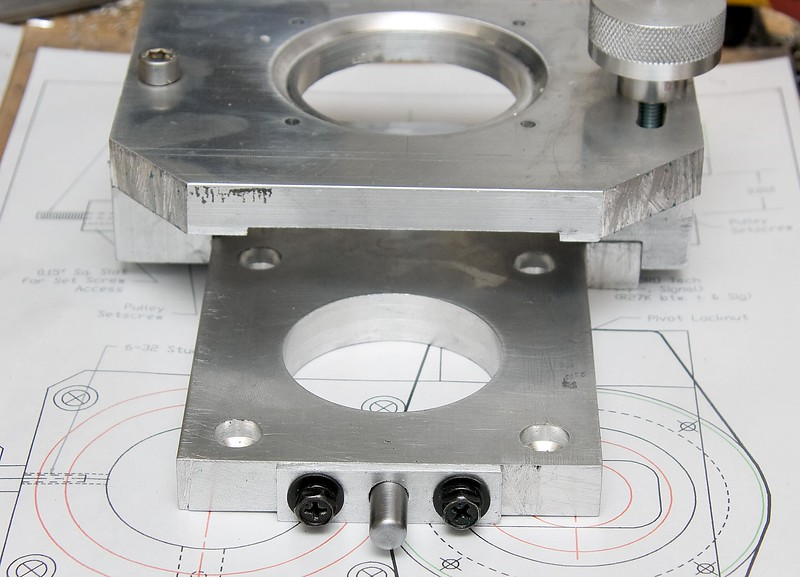 The completed spindle locking pin mounted on the base