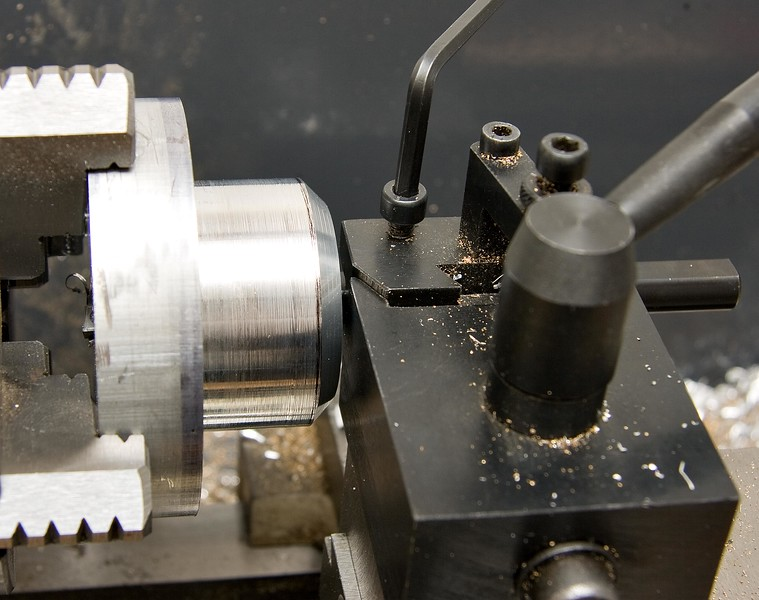 """After drilling the bore out to 1/2"""", I set up the boring bar to just reach through"""
