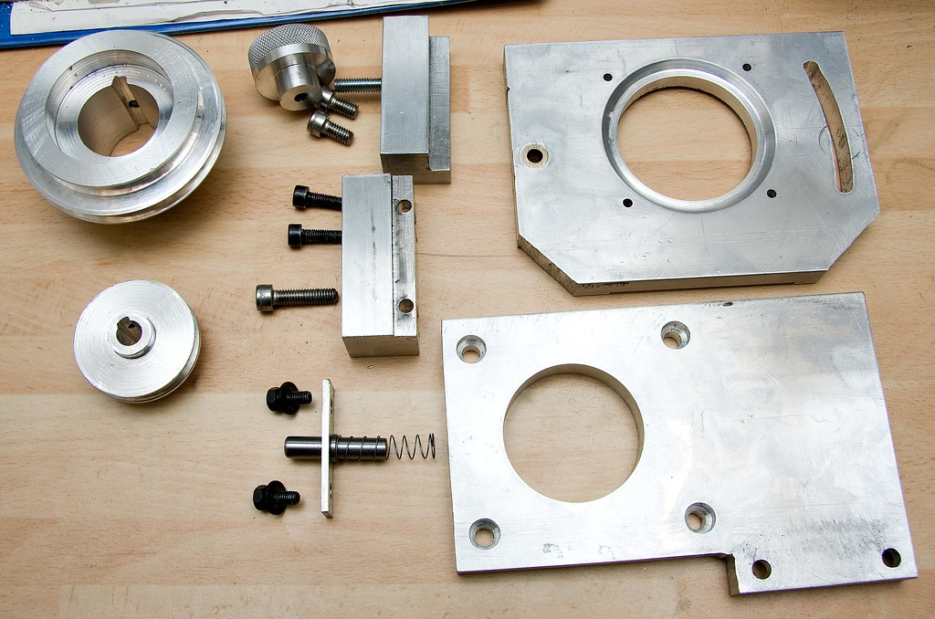The completed mini-mill belt drive conversion, all taken apart