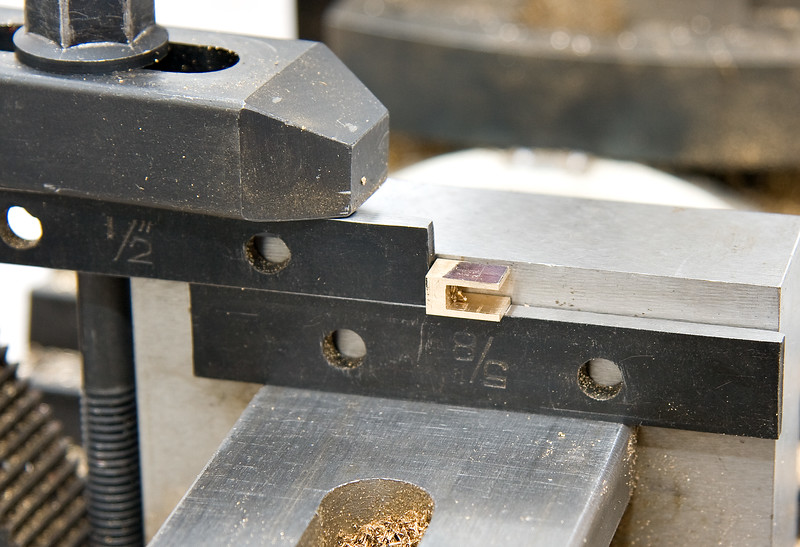 A temporary vice stop, used for drilling the holes for the securing pin.